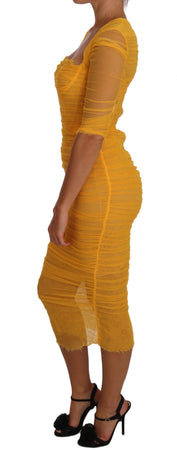 Yellow Tulle Bustier Sheath Bodycon Dress