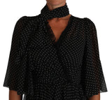 Black Ball Polka Dot Lace Ruffle Sartoria Dress