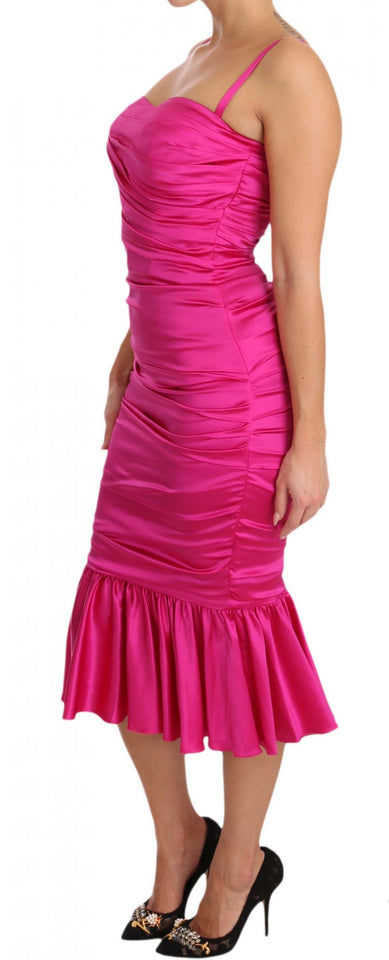Pink Silk Stretch Sheath Flare Bodycon Dress
