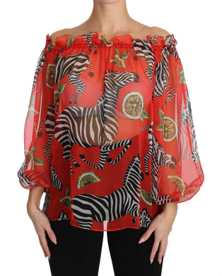 Red Zebra Print Silk  Off Shoulder Blouse Top