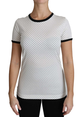 White Polka Dots Round Neck Cotton T-Shirt