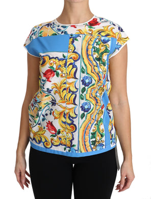 Multicolor Cotton Majolica Floral T-shirt