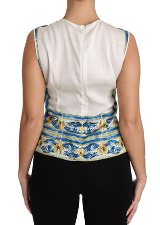 Blue Silk Stretch Majolica T-shirt