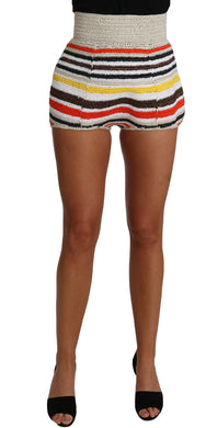 Raffia Knitted Striped Mini Hot Shorts Pants