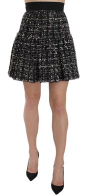 Flounce Detailed Wool Mini Pleated Check Skirt