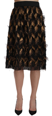 Black Gold Fringe Metallic Pencil A-line Skirt