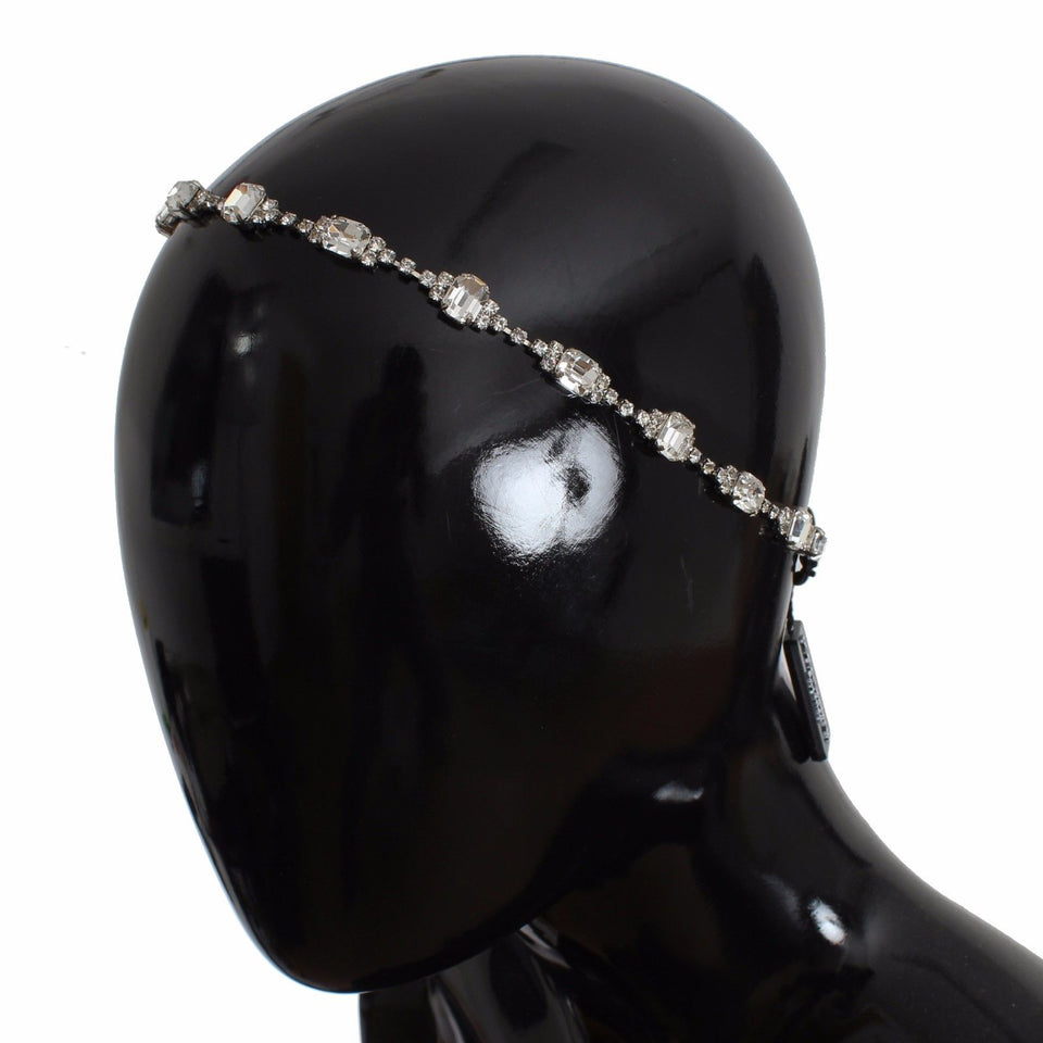 Silver Brass Crystal Head Hair Band