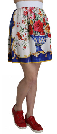 White High Waist Floral Print Mini Majolica Skirt