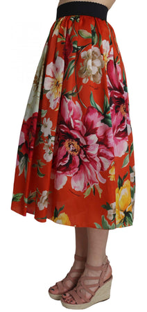 Orange Floral Rose Print Silk Flare A-line Skirt