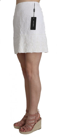 White Jaquard Lace Trim Cotton Mini Skirt