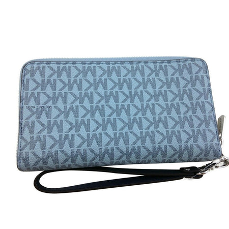 Jet Set MK printed Pale Blue Navy Large Wristlet