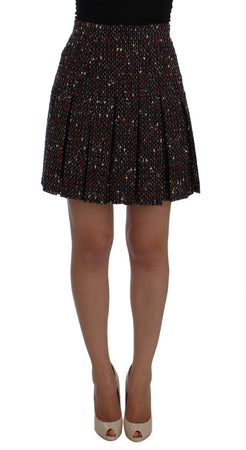 Multicolor A-Line Wool Tweed Skirt
