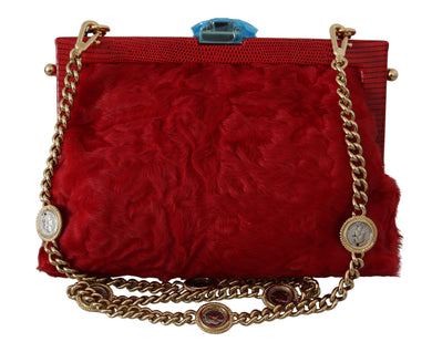 Red Fur Brocade Crystal Shoulder Women VANDA Purse