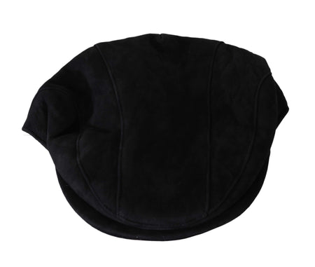 Black Alpaca Leather Newsboy Cap Mens Hat