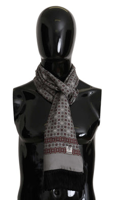 Silver Bordeaux Baroque Silk Fringes Scarf