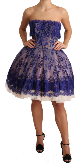 Purple Lace Ballerina Tulle Strapless  Dress