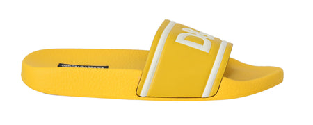 Yellow Logo Beachwear Slides Slippers