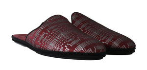 Red Silver Jacquard Slides Slippers
