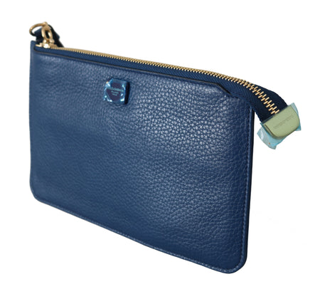 Blue Leather Coin Holder Case Hand Purse Pouch