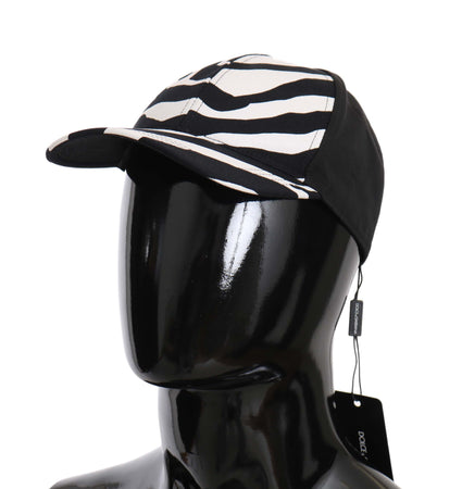 Black White Zebra Print Cotton Baseball Hat