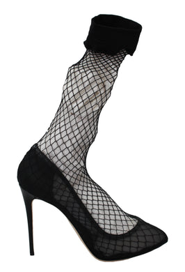 Black Netted Sock Heels Pumps Shoes
