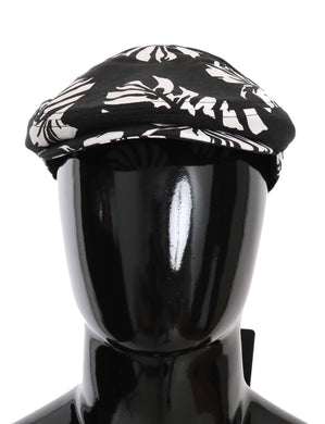 Black Cotton Leaves Print Newsboy Hat
