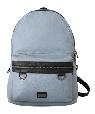 Light Blue Logo Casual School Backpack Leather Bag