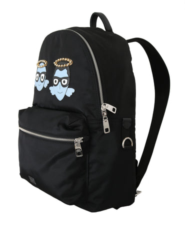 Black Men Patch Studs Casual School Nylon Backpack