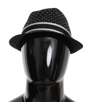 Black Polka Dots Cotton Fedora Trilby Hat