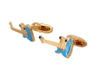 Gold Brass Guitar Music Rock Theme Accessory Cufflinks