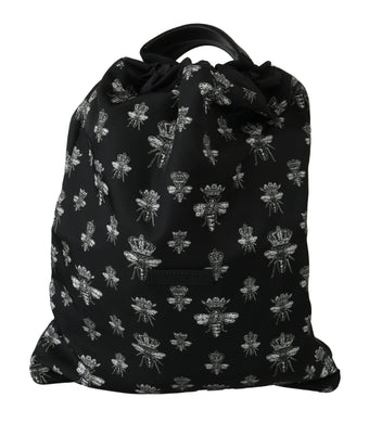 Black Crown Bee Adjustable Drawstring Nap Sack Mens Bag