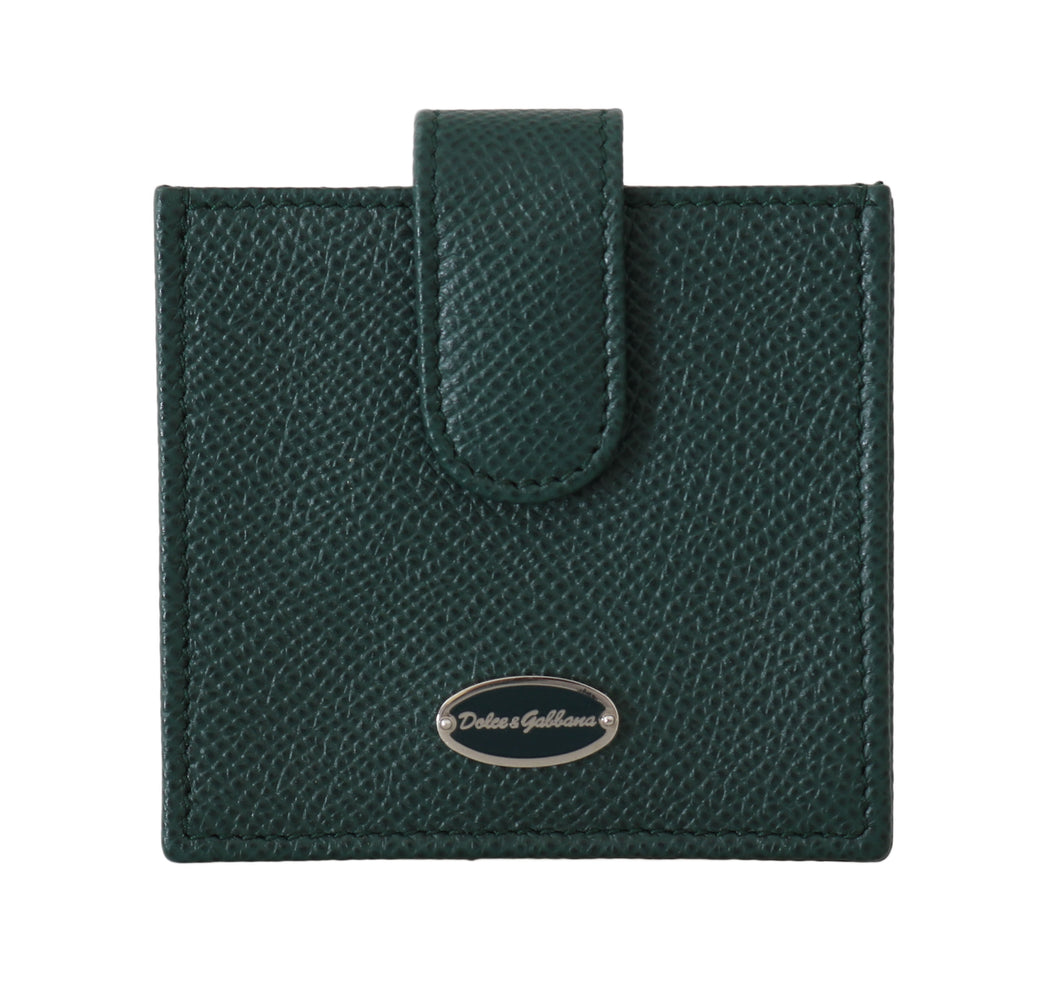 Green Dauphine Leather Condom Pocket Case Holder