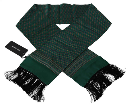 Green Baroque Tassel Mens Silk Scarf