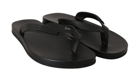 Black Logo Flip Flops Slides Slippers