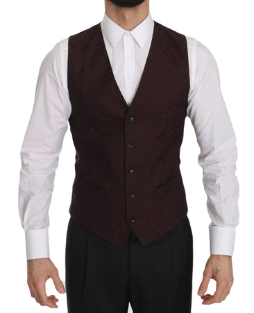 Bordeaux Brocade Slim Fit Vest
