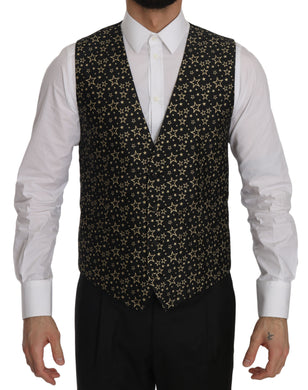Black Star Patterned Slim Formal Vest