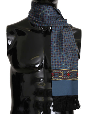 Blue Patterned Tassel Silk Mens Scarf