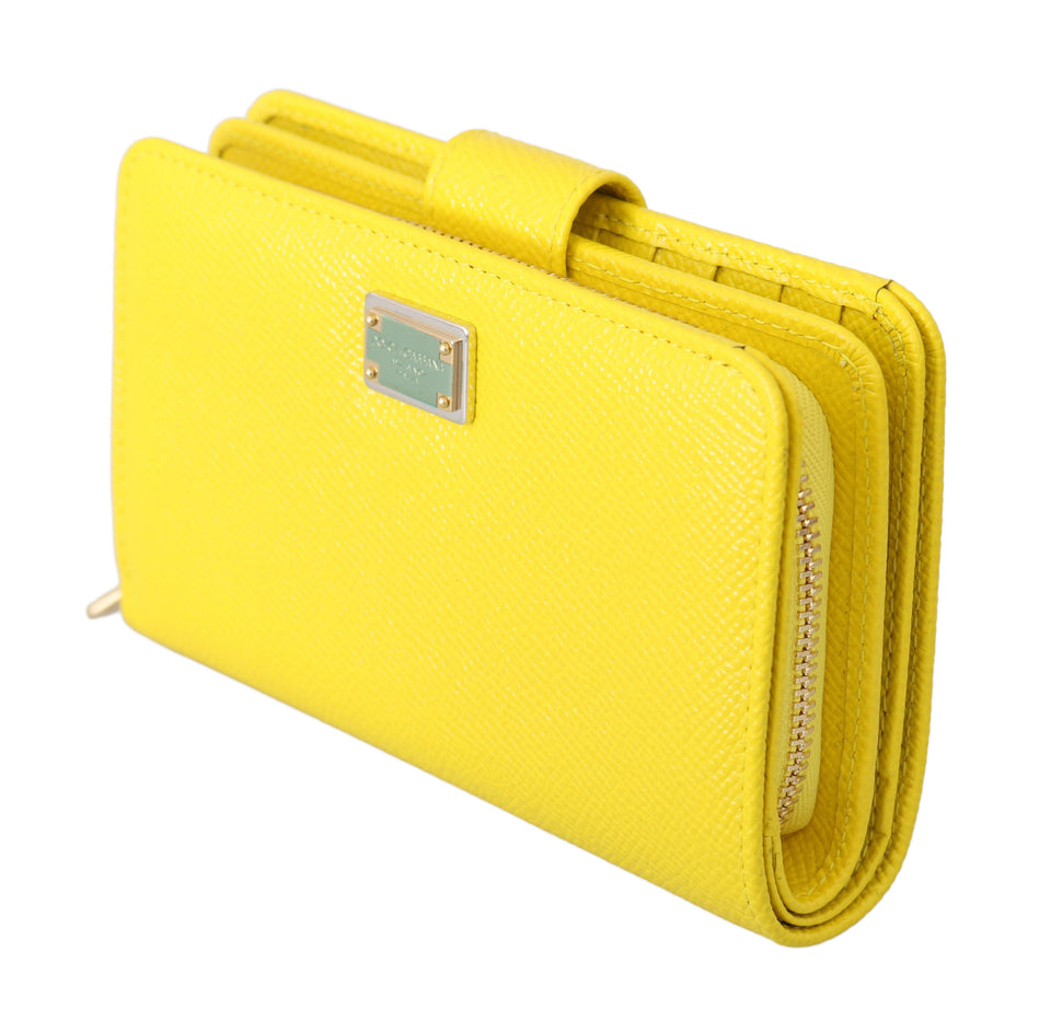 Yellow Leather Zipper Trifold Card Case Holder Wallet