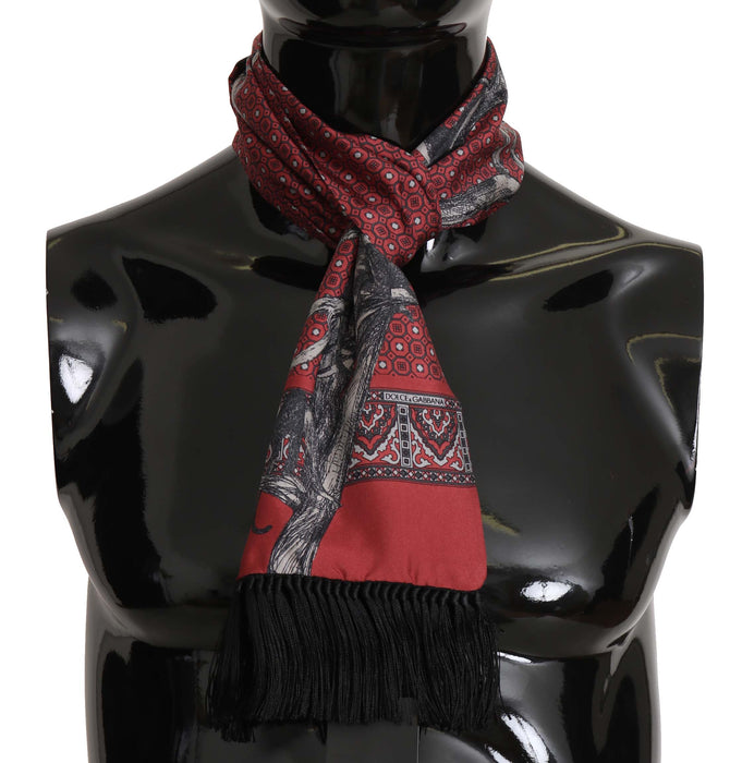 Bordeaux Monkey Polka Dot Print Silk Wrap Scarf