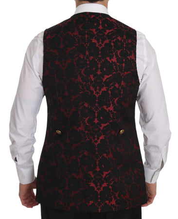 Red Black Brocade Slim Formal Vest
