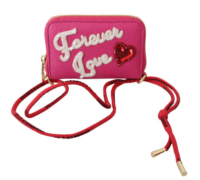 Pink Forever Love Zipper Leather Coin Purse Wallet