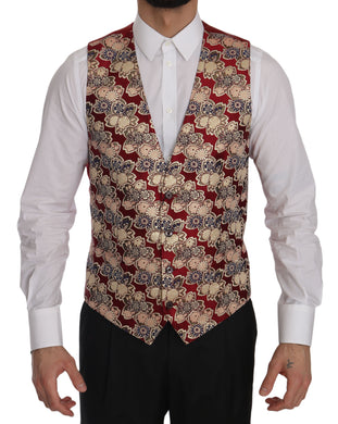Red Gold Jacquard Slim Fit Vest