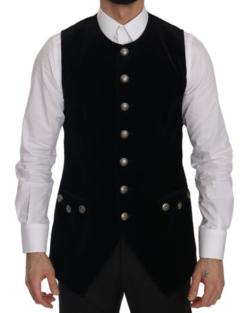 Black Velvet Slim Fit Formal Vest