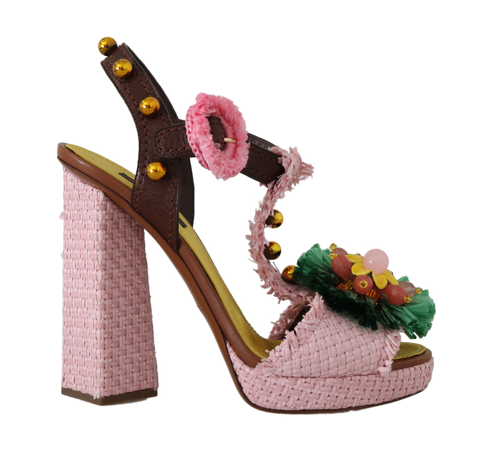 Pink Raffia Crystal Leather Sandals