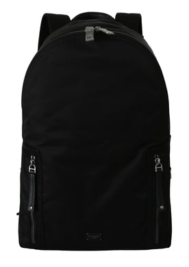 Black Nylon Leather Mens Casual School Backpack Bag