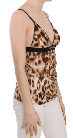 Brown Sleeveless Plunging Leopard Blouse