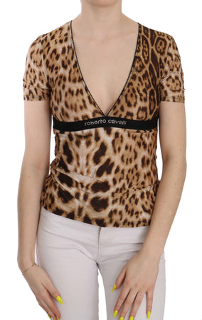 Brown Short Sleeve Plunging Leopard Blouse