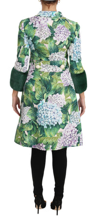 Hortensia Fur Silk Trench Coat Jacket