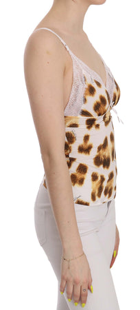 White Brown Plunging Neck Leopard Top Blouse