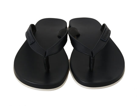 Black Leather Flip Flops Slides Slippers